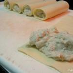 Canelone recheado com creme de castanha de cajú